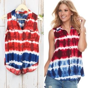Rock & Republic Tie Dye Red White Blue Hi Lo Tank